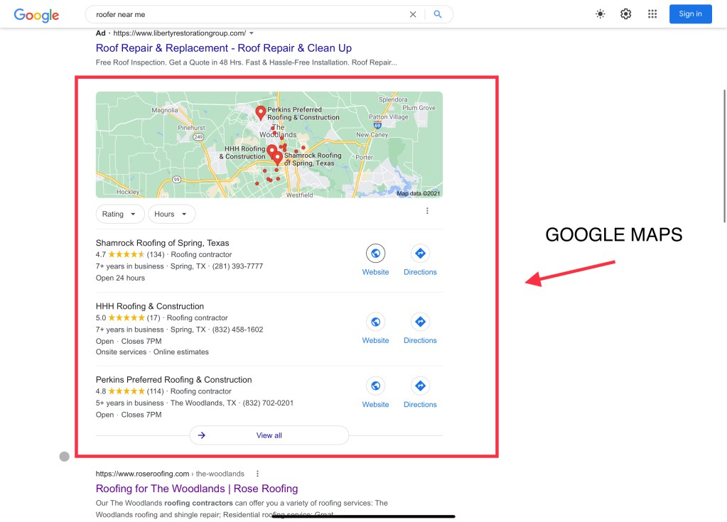 how to hire a roofer google maps